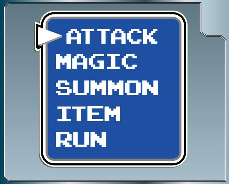 ATTACK MENU from Final Fantasy Funny Video Game bumper sticker image 0