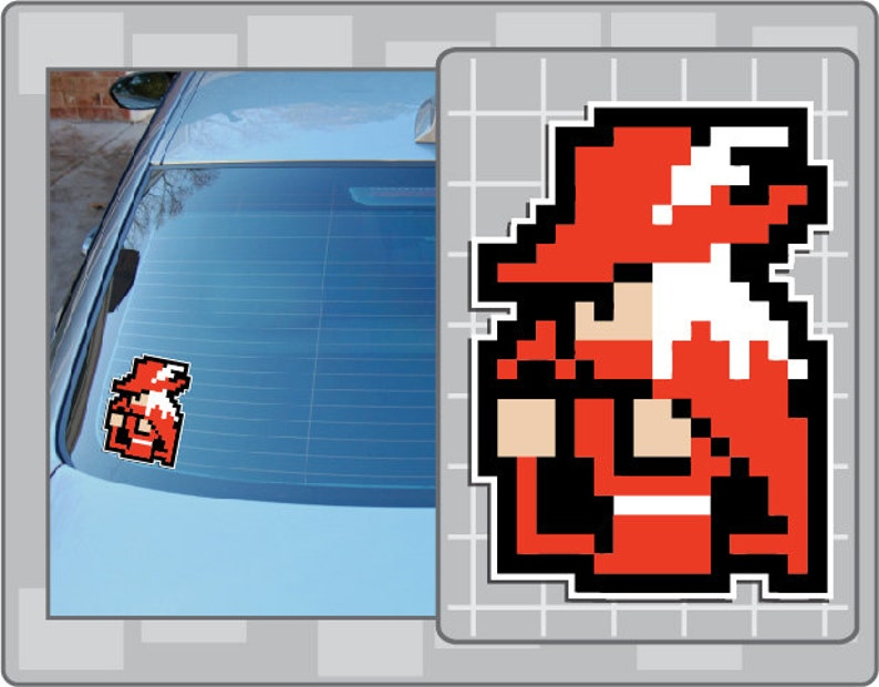 RED MAGE from Final Fantasy 8 Bit Sprite Vinyl Decal Classic image 0
