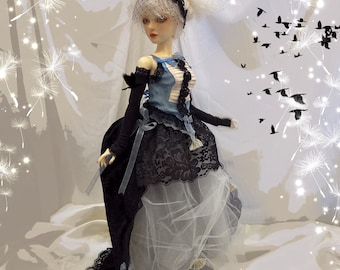 BJD dress, doll clothes, doll gown, black, ivory and blue