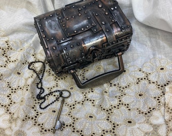 Doll trunk, steam punk style with key