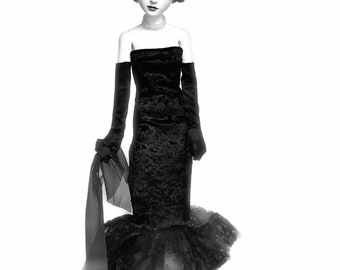 BJD dress, doll clothes, doll gown, black, lace