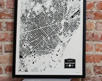 CityFabric Barcelona City Buildings Map Print (Print-Bar-Bw-18-24)
