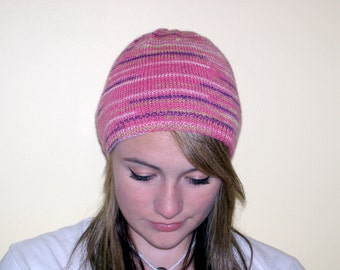 Pink multi colored sock yarn beanie