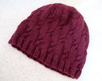 Cabled maroon wool beanie