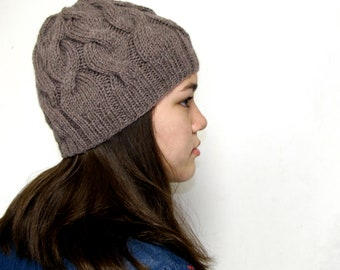 Cabled grayish brown wool beanie