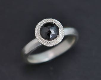 Rose Cut Black Diamond Ring in Sterling Silver, One of a Kind, Halo Bezel, Bezel Set, Milgrain, Recycled Silver, Ready to Ship Size 6.25