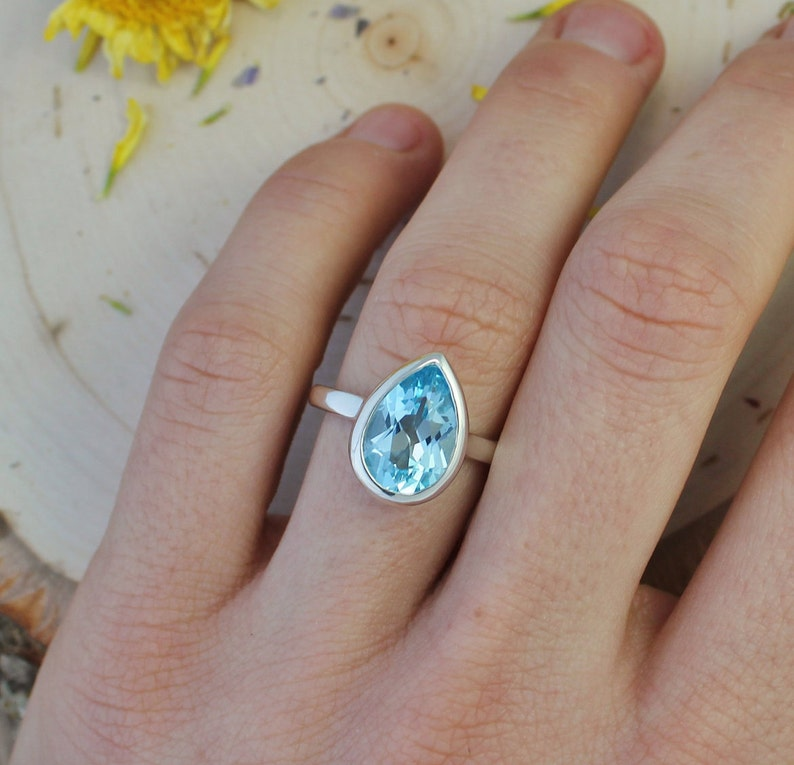 Ready to Ship Size 6.5 Sterling Silver Pear Shape Blue Topaz Ring December Birthstone Jewelry Solitaire Blue Topaz