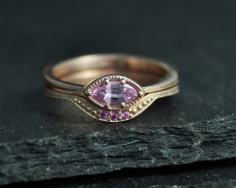 Pink Sapphire Marquise Ring,  Rose Gold Marquise East West Ring, Engagement Wedding Set, Made to order