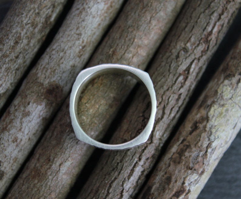 Ready to Ship Eco Friendly Band Square Hammered Sterling Silver Band Textured Wide Silver Band 10mm Wide Silver Band