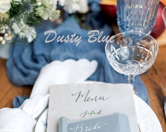 Dusty Blue Gauze Table Runner, Boho Wedding Table Runner Steel Blue, Country Blue Wedding Table Centerpiece, Blue Cheesecloth Table Runner