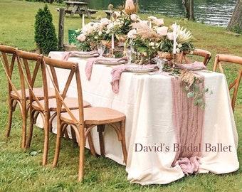 Rose Gold Table Runner, Rustic Wedding Table Centerpiece, Beach Wedding, Blush Pink Cheesecloth Runner, Boho Wedding, Bridal Shower Decor