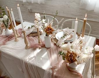 Romantic Rose Gold Wedding Table Runner Gauze, Blush Pink Reception Table Runner, Bridal Shower Décor, Boho Table Runner, Pink Beach Picnic
