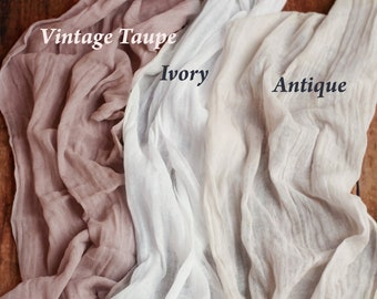 Hand Dyed Rustic Wedding Table Runner Gauze, Ivory Beach Wedding Arch Drape Fabric, Dusty Rose Table Runner, Eco Friendly Dusty Blue Gauze
