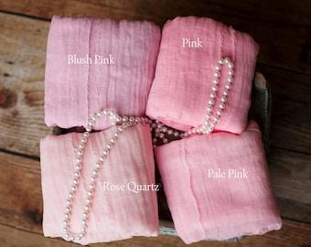 Pink Wedding Table Runner Gauze, Blush Pink Boho Wedding Decor, Rose Beach Wedding, Hand Dyed Table Runner, Postpone Don't Cancel Wedding