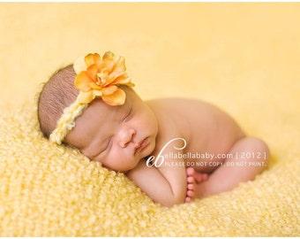 Newborn Halo, Spring Baby Halo, Newborn Photo Prop, Yellow Newborn Tieback, Baby Headband, Yellow Flower Tieback, Yellow Baby Headband