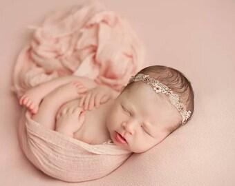 Peach Cheesecloth Gauze Newborn Baby Wrap, Peach Pure Cotton Baby Photography Wrap, Newborn Photo Prop