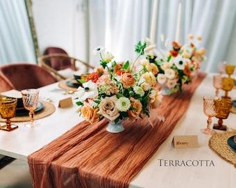 Rustic Cotton Terracotta Tablecloth Runner, Burned Orange Cheesecloth Table Linen, Cinnamon Wedding Table Gauze, Rust Head Table Centerpiece