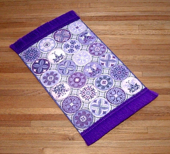 Purple Rug Australia: Purple Folk Art Rug Dollhouse Miniature 1/12 Scale Hand