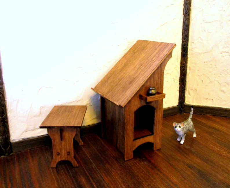Sensational Medieval Desk And Bench Dollhouse Miniature 1 12 Scale Hand Made Machost Co Dining Chair Design Ideas Machostcouk