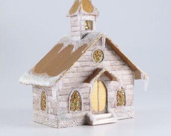Christmas Chapel Paper Glitter House Ornament Church