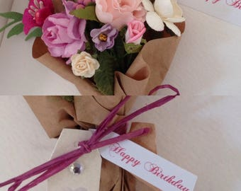 Handmade Birthday Card, Luxury Birthday Card/Beautiful Hand tied Bouquet//Girlfriend/Wife/Mother/Female, Thank You, Congratulations
