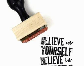 Believe in Yourself / Be You Stamp | UPLIFT NOTES Rubber Stamp | Art Journaling Planner Reminder | Wood Mounted Stamp
