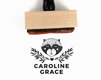 Custom Raccoon Name Stamp | Racoon Personalized Customized Unique Gift for Girl, Mom | Artist Collaboration Rubber Stamp by Creatiate | TL1