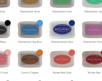 Metallic Brilliance Ink Pad   Gold Copper Silver etc   Rich Pigment Ink, Archival and Acid Free   Ink Pads for Your Creatiate Rubber Stamps