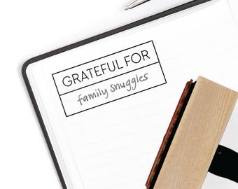 Grateful For Stamp | Gratitude Journal | Minimalist Simple Planner Supplies Bullet Accessories | Mounted Rubber Stamp by Creatiate | BJ1