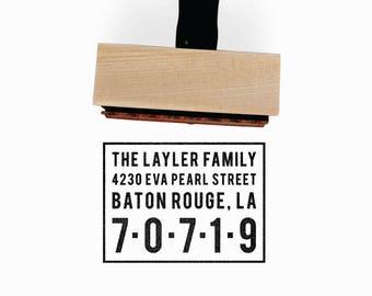 Minimalist Return Address Stamp | Custom Personalized Bold Realtor Wedding Housewarming Gift | Return Address Rubber Stamp by Creatiate