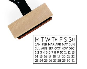 Perpetual Calendar Stamp | Circle or Highlight Today's Date | Simple Bullet Planner for Minimalist Journal | Rubber Stamp by Creatiate | BJ1