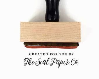 Custom Created for You by [YOUR BUSINESS NAME] Rubber Stamp | Hand Crafted by Your Business | Wood Mounted Rubber Stamp