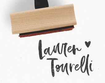 Custom Name Stamp - The Calli Collection - Wood Mounted Rubber Stamp for Small Business Packaging - by Creatiate - Logo Hand Lettering Stamp