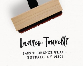 Custom Address Stamp - The Calli Collection - Wood Mounted Rubber Stamp for Small Business Packaging - by Creatiate - Hand Lettered Design