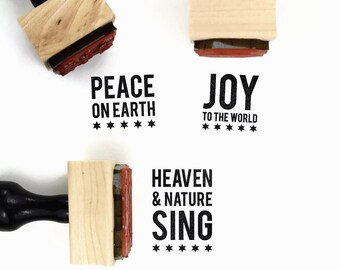 Christmas Rubber Stamp Set | Peace on Earth, Joy to the World & Heaven and Nature Sing | Mini Holiday Stocking Stuffer Rubber Stamps