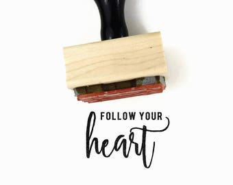 Follow Your Heart Stamp | UPLIFT NOTES Rubber Stamp | Inspirational Quote | Art Journaling Planner | Wood Mounted Stamp