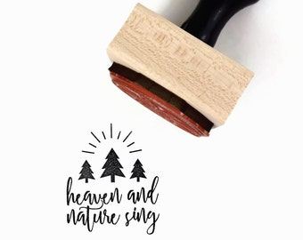 Heaven and Nature Sing Stamp | Christmas Hymn, Joy to the World Holiday Craft | Three Christmas Trees Rubber Stamp by Creatiate