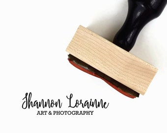 Custom Rubber Stamp | Your Business Name & Industry Stamp | Packaging Branding Stamp | Wood Mounted Rubber Stamp with Handle