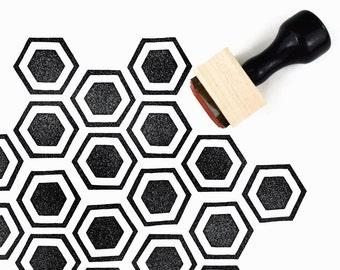 Rubber Stamp Honeycomb Pattern (Sm) | Hand Drawn Geometric Hexagon Pattern Stamp