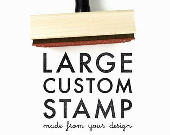 Large Custom Made Rubber Stamp | Your Logo, Drawing or Design | Wood Mounted and Top|Engraved w/Handle Rubber Stamp