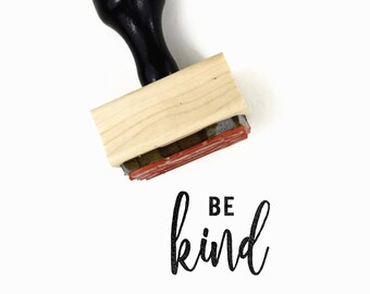 Be Kind Stamp | UPLIFT NOTES Rubber Stamp | Inspirational Quote | Art Journaling Planner | Wood Mounted Stamp