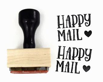 Rubber Stamp Happy Mail NEW | DIY Snail Mail Packaging | Wood Mounted Stamp