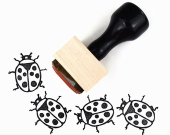 Ladybug Stamp | Springtime Summertime Craft Hand Drawn Rubber Stamp | Sunny Summer Stamps by Creatiate