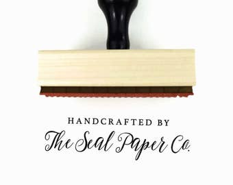 Custom Handcrafted by You Rubber Stamp | Hand Crafted by Your Business | Wood Mounted Rubber Stamp