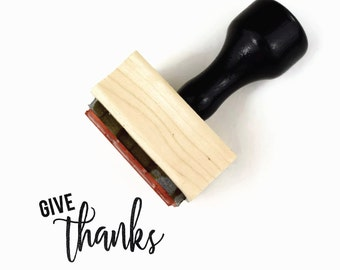 Rubber Stamp Give Thanks | Thanksgiving Fall Harvest Festival | Wood Mounted Stamp by Creatiate