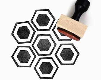 Rubber Stamp Honeycomb Pattern (Lg) | Hand Drawn Geometric Hexagon Pattern Stamp