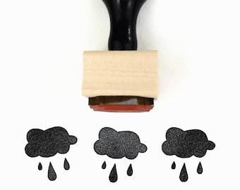 Rubber Stamp Little Blue Rain Cloud | Weather Rainy Day Raincloud Stamp