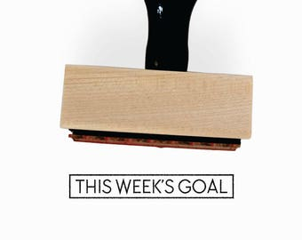 This Week's Goal Stamp | Minimalist Task Journal Stamp | Gift for Simple Planners + Calendars | Wood Mounted Rubber Stamp by Creatiate | BJ1