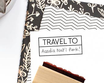 Travel To Stamp | Trip Vacation Planner Idea for Minimalist Journaling Plan | Simple Minimal | Wood Mounted Rubber Stamp by Creatiate | BJ1