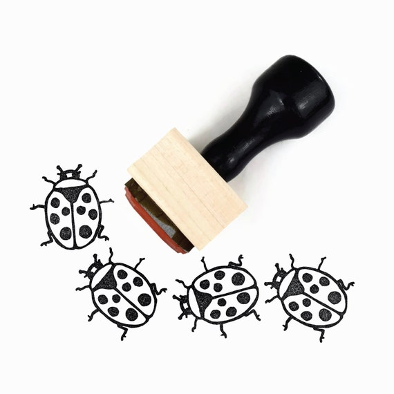 Ladybug Stamp Springtime Summertime Craft Hand Drawn Rubber